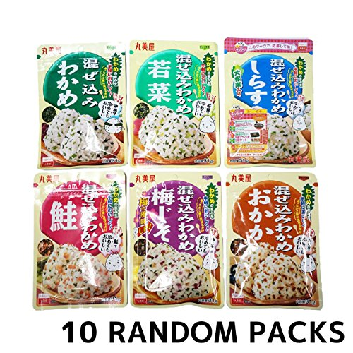 Marumiya Furikake Japanese Rice Seasonings Mazekomi Wakame Random 10 Packs SET (About 10oz)