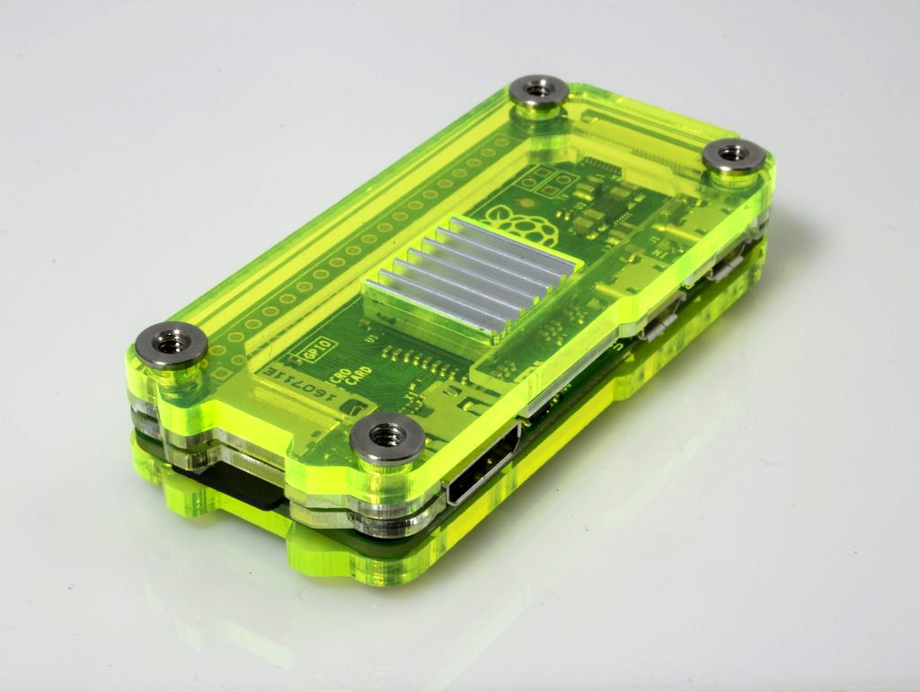 Zebra Zero for Raspberry Pi Zero & Zero Wireless - Laser Lime w Heatsinks by C4 Labs (Image #1)