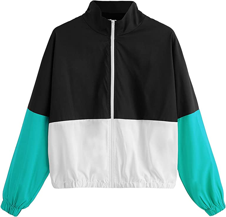 80s Windbreakers, Jackets, Coats SweatyRocks Womens Casual Color Block Drawstring Hooded Windbreaker Jacket  AT vintagedancer.com