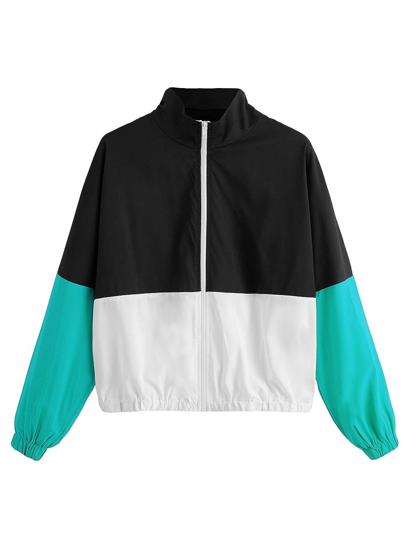Black_green SweatyRocks Women's colorful Splash Printing Zip Up Windbreaker Jacket with Hood
