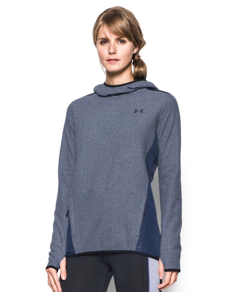 Under Armour Women's ColdGear Infrared Popover Hoodie, Faded Ink/Faded Ink, Large