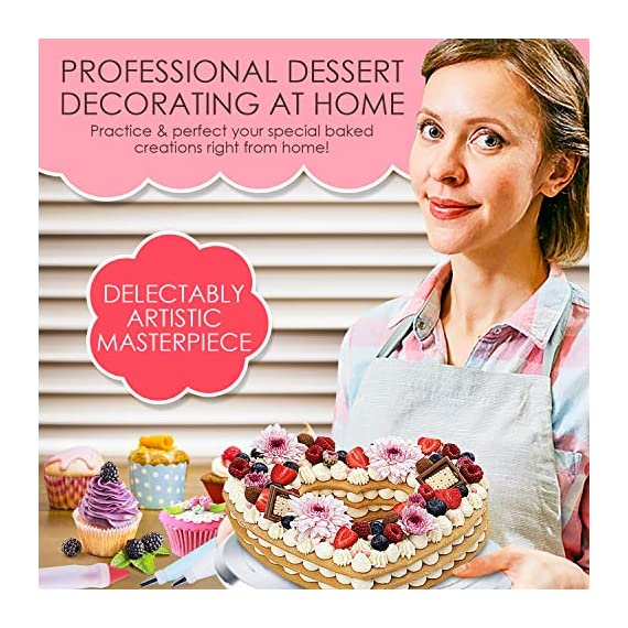78 Piece Cake Decorating Supplies Kit | Aluminium Rotating Turntable Stand, Frosting & Piping Tips, Icing Spatula, Scraper, Smoother, Flower Nails, Cutter, Disposable Pastry Bags, Pro Baking Tools 7 ✅ PROFESSIONAL DESSERT DECORATING AT HOME - Create delectably artistic masterpieces that are stunning to behold and even better to eat! Practice & perfect your special baked creations right from home! ✅Heavy duty Aluminium alloy Cake Turnable provides an excellent stability on countertops. ✅ LIVEN UP BIRTHDAYS, PARTIES & HOLIDAYS - Be the go-to expert for making any party a hit! Get creative with cakes, cookies, cupcakes, chocolate and everyone's favorite desserts & party platters. ✅ 51 NUMBERED TIPS - EASY TO USE ✅ EVERYTHING YOU NEED IN ONE - Beginners to seasoned pros: this all-in-one set has everything you need and more. Create floral motifs, swirling patterns, syringe infusions & taste-tantalizing textures!
