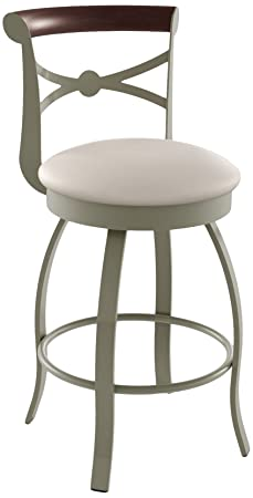 Amisco Bourbon Swivel Metal Barstool with Backrest, 30-Inch, Titanium Oyster Choco
