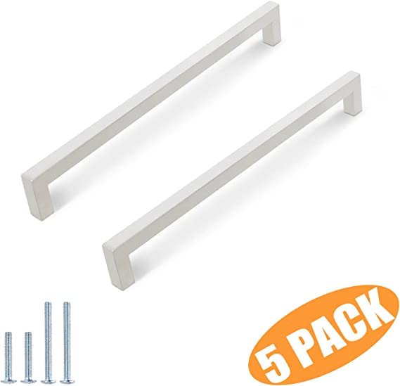 50 pack Probrico 1//2 in Stainless Steel Square Corner Bar Kitchen Cabinet Door Handles Brusehd Satin Nickel Hole Centers 10 inch 256mm