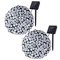 Qedertek 2 Pack Solar String Lights, 72ft 200 LED Fairy Solar Lights Decorative Lighting for Wedding, Garden, Home, Patio, Porch, Lawn, Party and Holiday Decorations (Cool White)