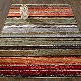 """Cheap Diagona Designs Contemporary Wavy Stripes Design Non-Slip Kitchen/Bathroom/Living Room Area Rug, 5'0 W x 6'6"""" L, Multi Color"""