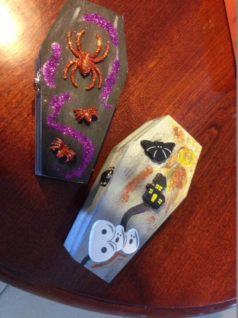 Set of 2 wooden coffins That Open, with Latch - Decorated for Halloween. by wooden coffins
