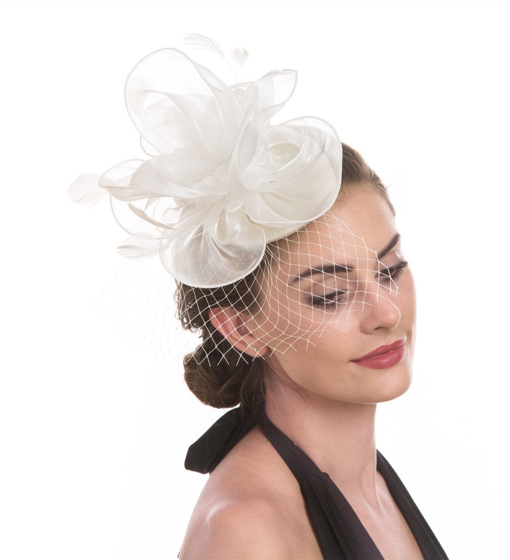SAFERIN Fascinators Hat Flower Mesh Feathers Tea Party Wedding Headwear for Girls and Women (TA2-Foral Mesh White)