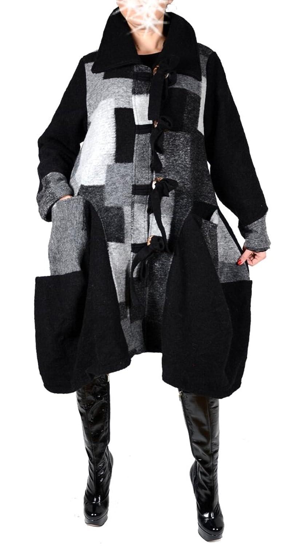 Damen Wolle Wintermantel Mantel Lagenlook Patchwork 42 44 46 48 50 M L XL XXL Warm Trench Coat Schwarz