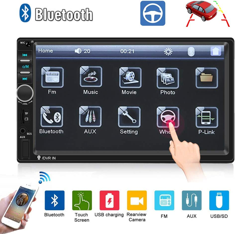 "Car Radio-Double Din Car Stereo 7"" LCD Touch Screen Car Radio Bluetooth Support Mirror Link/Rear View Camera/DVR/USB/FM/SD/MMC MP3 Indash Radio"