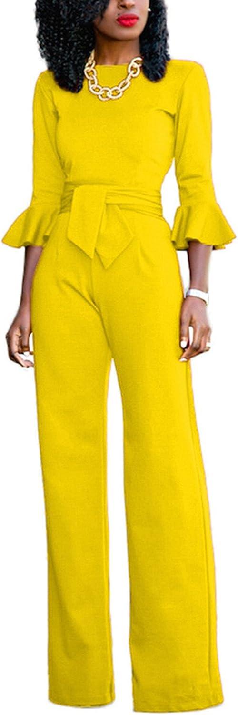 Womens Casual Elegant OL 3//4 Sleeve Solid Romper Jumpsuit Long Party Club Dress
