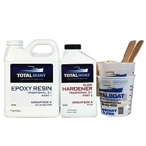 TotalBoat 5:1 Epoxy Resin Kit (Quart, Slow Hardener), Marine Grade Epoxy for Fiberglass and Wood Boat Building and Repair