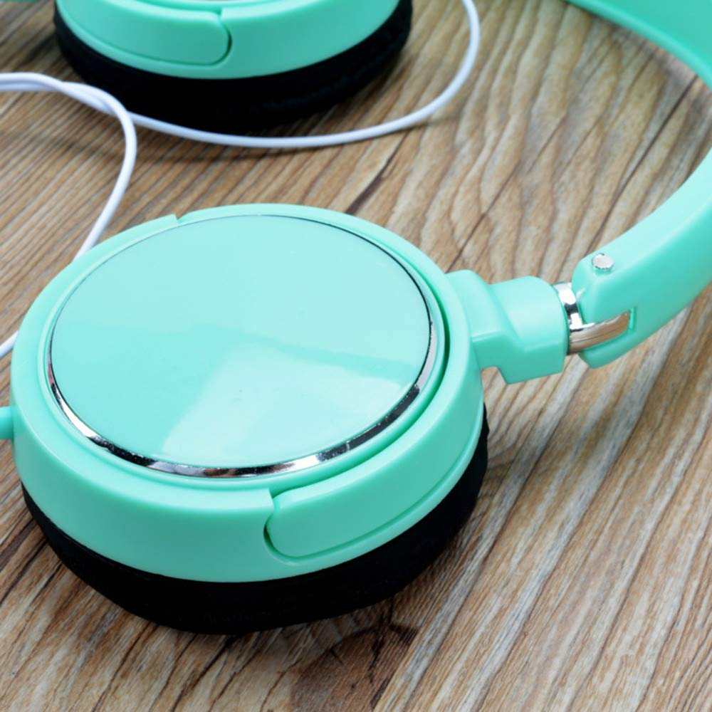 Wired Bluetooth Headphones Over Ear,for Women Men Kids White VC6.0 Noise Cancelling Headphones Foldable Hi-Fi Stereo Headset,with Detachable 3.5mm Cable,with Mic for Cellphones,Tablet,PC