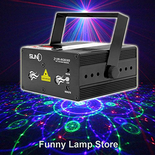 SUNY Family Stage Laser Projector RGB Colorful 12 Patterns Gobos with Blue LED Sound Activated Remote-control Decoration Lighting System for Party DJ Disco Club Xmas Christmas (RGB Gobos)