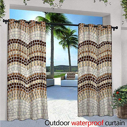 (BlountDecor Beige Indoor/Outdoor Single Panel Print Window Curtain Gradient Colored Mosaic Waves Setting Antique Roman Royal Dated Retro Patterns Silver Grommet Top Drape W108 x L96 Beige Tan)