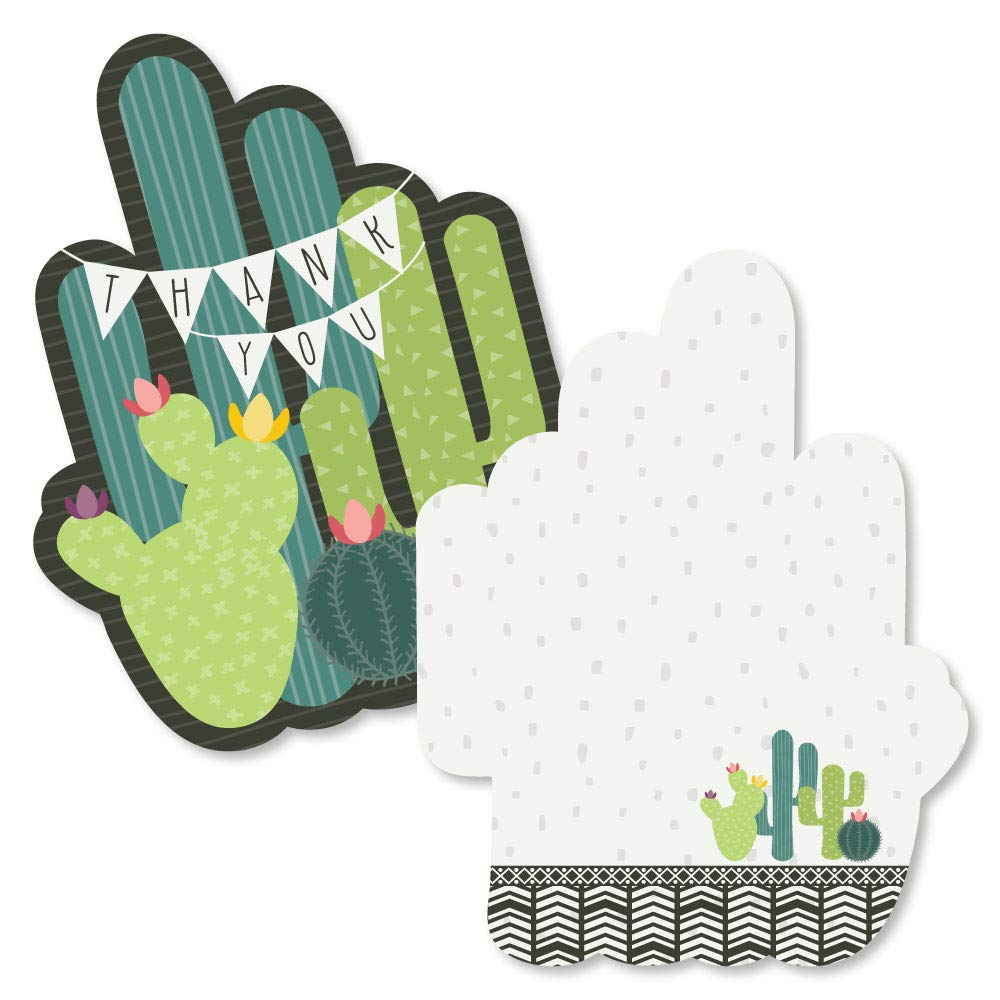 Fiesta Party Thank You Note Cards with Envelopes Set of 12 Shaped Thank You Cards Prickly Cactus Party