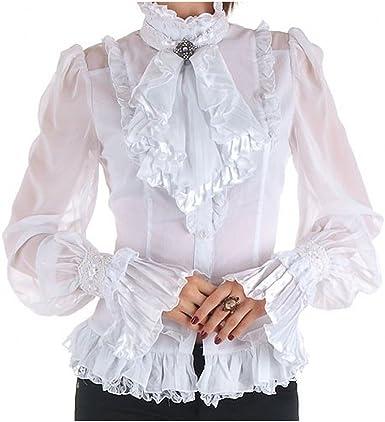 RQ-BL Crazyinlove Mujer Camisa Blanca con Jabot Negro L: Amazon.es: Ropa y accesorios