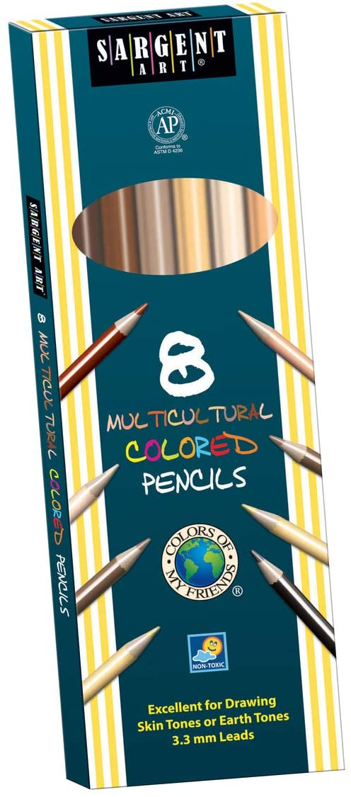 7 Inches Assorted Skin Tone Colors Pack of 8-1386920 Sargent Art Multi-Ethnic Colored Pencils