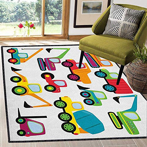 Construction Super Modern Area Rug,Cute Style Vehicles and Heavy Equipment Forklift Earthmover Excavator Mixer for Residential or Commercial Use Multicolor 67