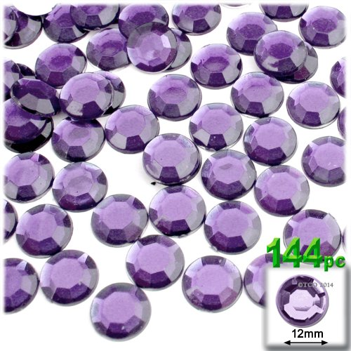 The Crafts Outlet 144-Piece Round Rhinestones, 12mm, Light Amethyst