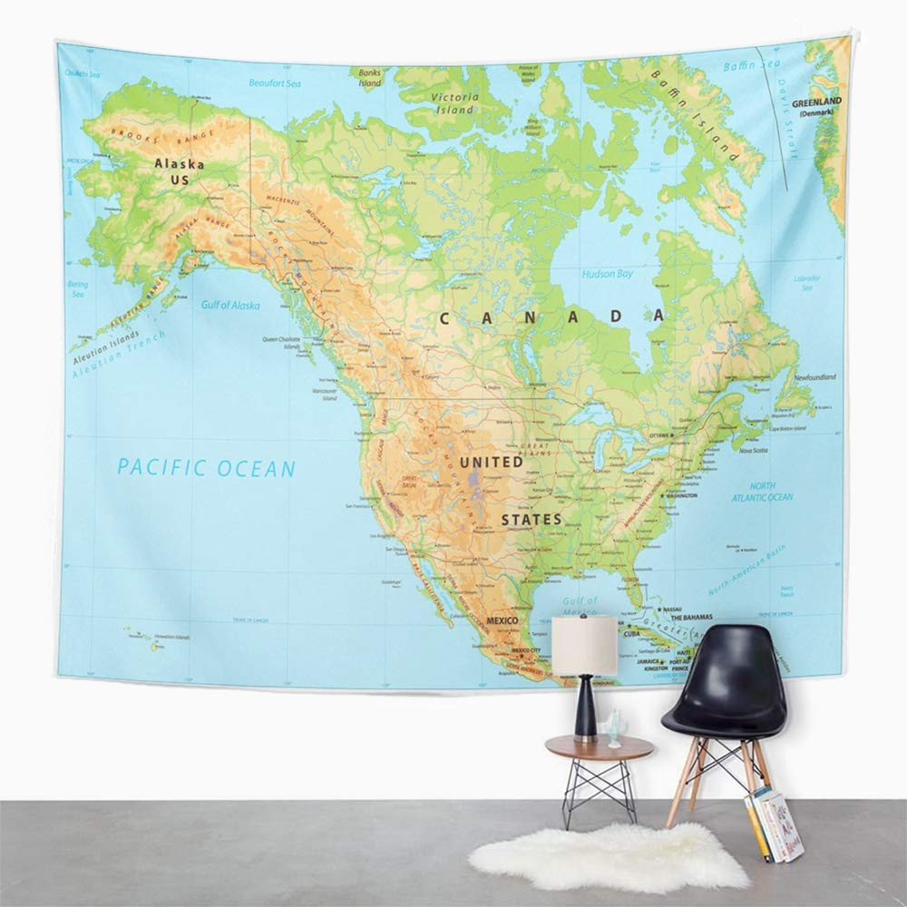 Map Of Canada North Of 60.Amazon Com Emvency Tapestry Wall Hanging Topographic North America
