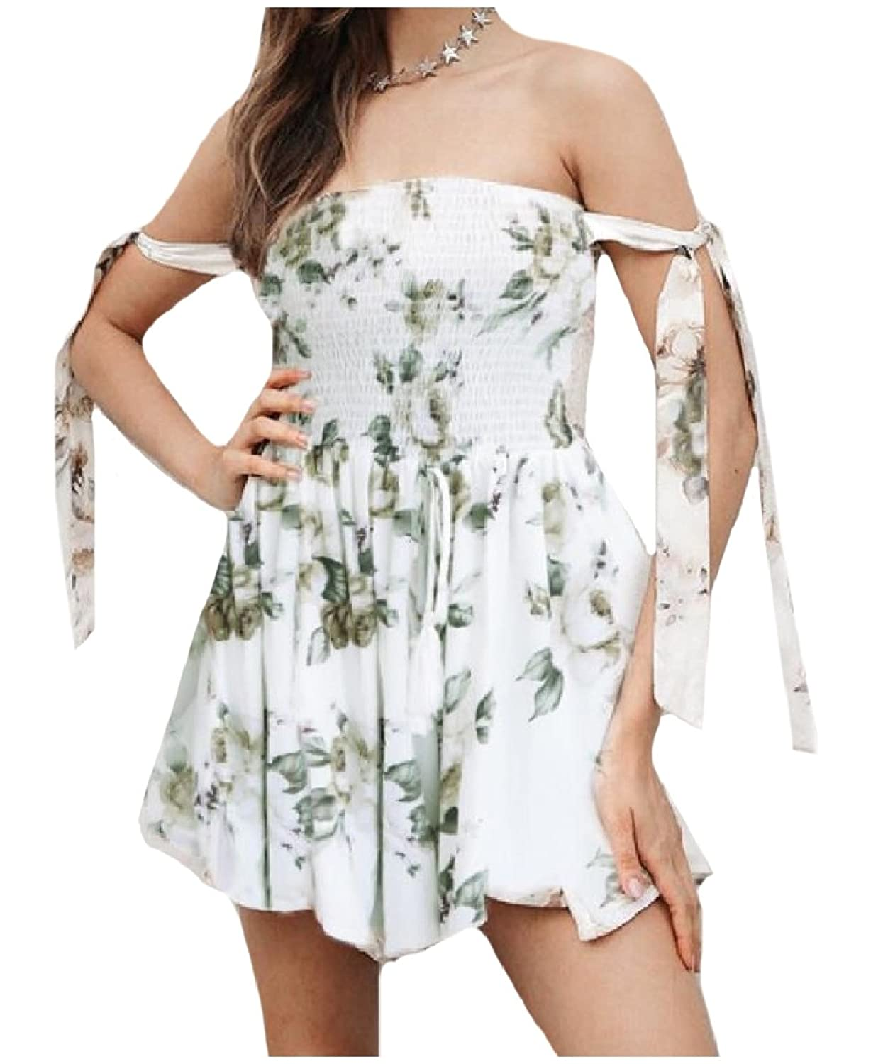 Abetteric Women's Sleeveless Off-Shoulder Strappy Beachwear Leisure Casual Floral Printing Playsuit Shorts Rompers