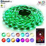 LED Strip Lights Sync to Music,RaThun Bluetooth Smartphone APP Controlled 32.8ft RGB 300 LEDs 5050 Flexible Color Changing Light Full Kit Working with Android and iOS System-UL Listed