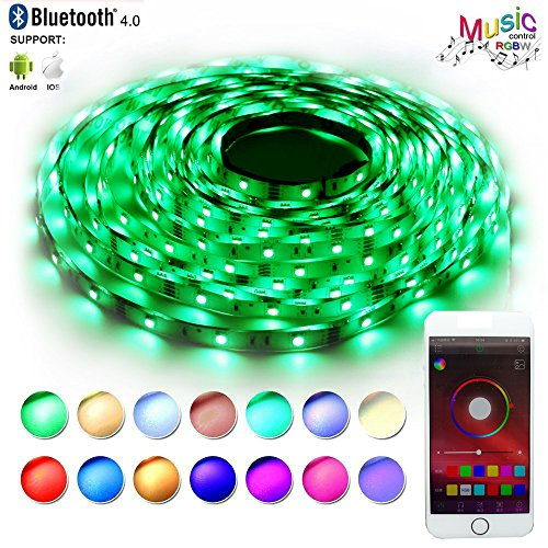 RaThun LED Strip Lights Sync to Music,Bluetooth Smartphone APP Controlled 32.8ft RGB 300 LEDs 5050 Flexible Color Changing Light Full Kit with 12V 5A Power Supply,Working with Android and iOS -