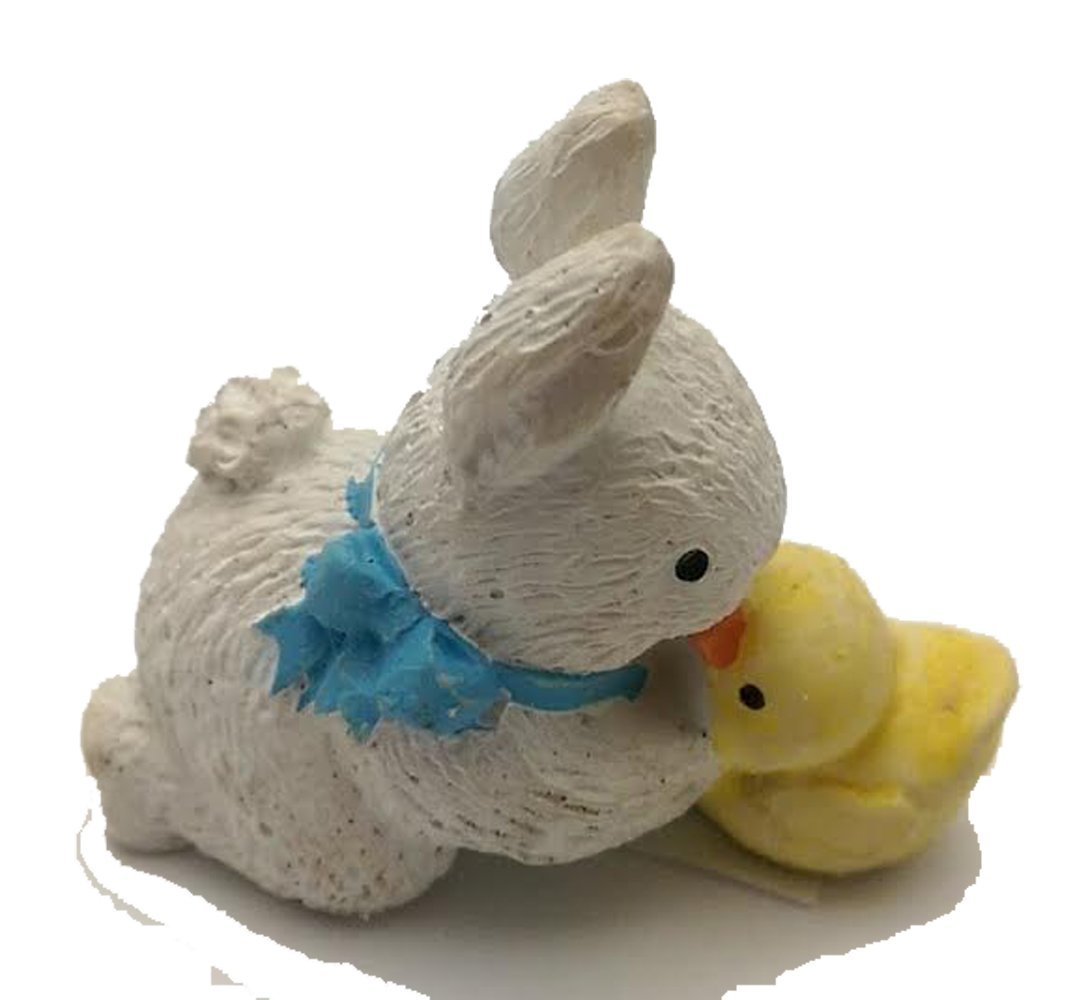 CUTE BUNNY KISSING A BABY CHICK FIGURINE