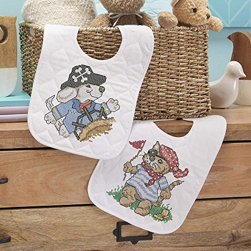 Baby by Herrschners Pre-Quilted Pirate Voyage Baby Bibs Stamped Cross-Stitch Kit (Stamped Cross Stitch Quilted Bibs)