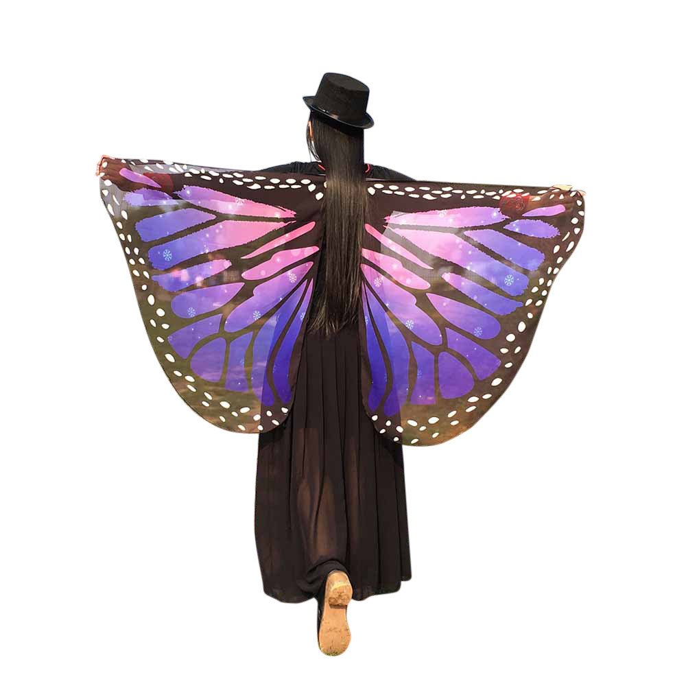 WOCACHI Halloween Costume Butterfly Wings Scarves, Women Cloak Cape Poncho Pixie Party Show