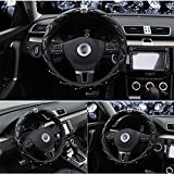 steering wheel cover crystal - Cdycam Non-slip Universal PU Leather Car Steering Wheel Cover with Crystal Crown Diamond ,Durable, Soft , 15 inch Size (Black)