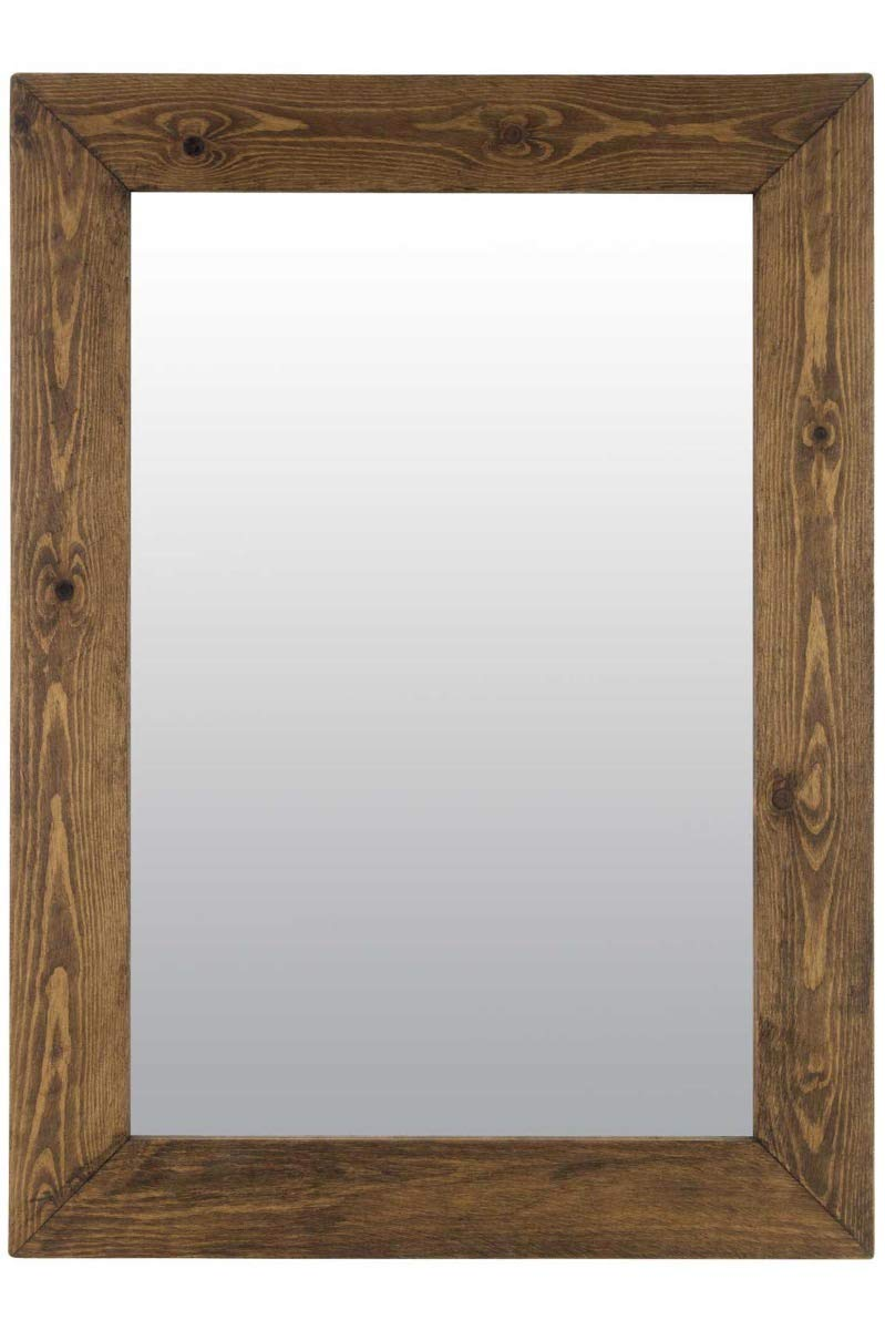 Large Rustic Solid Wood Wall Mirror 3Ft2 X 2Ft6 (96cm X 76cm) MirrorOutlet