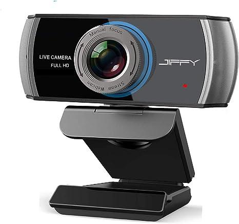 JIFFY HD Webcam, 1080P actualización de la cámara USB, micrófonos duales, juego de gran angular, la cámara funciona con PC/portátil/caja de TV, Xbox One, YouTube/Skype Web Cam: Amazon.es: Electrónica