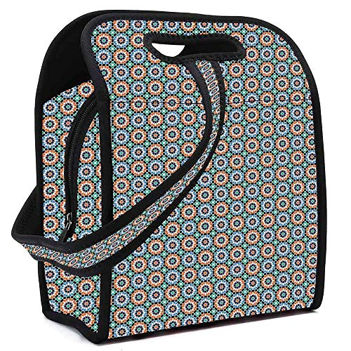 (Moroccan Wear Resisting Neoprene Lunch Bag,Mosaic Circular Pattern Arrow Shapes Marrakech Inspired Design Abstract Motifs Decorative for Picnic Beach Office,Square(8.5''L x 5.5''W x 11''H) )