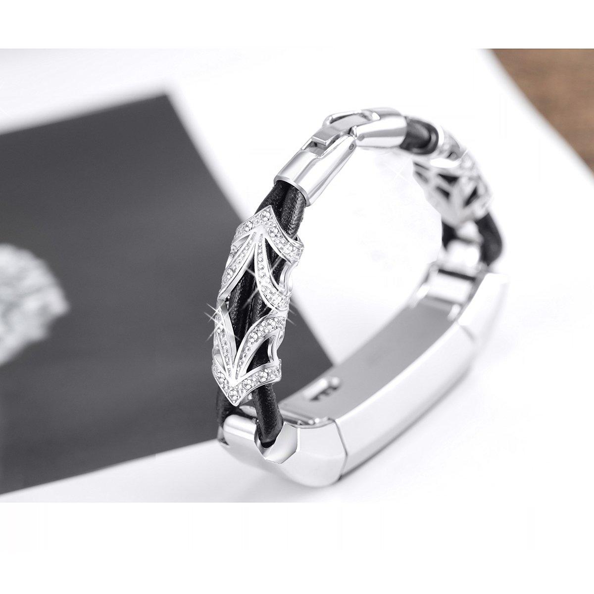 bayite Slim Leather Strap Cord Straps Wristband For Fitbit Alta /& Fitbit Alta HR