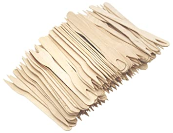 100 palos de madera natural para cóctel, horquilla francesa de dos dientes de madera para