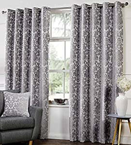 Carlo Lined Eyelet Curtains Floral Damask 66 Quot X 90 Quot Silver