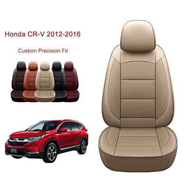 OASIS AUTO 2012-2016 CRV Custom Fit PU Leather Seat Cover Compatible with 2012-2013-2014-2015-2016 Honda CR-V (2012-2016 CRV, TAN): Automotive