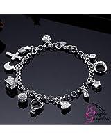 925 Silver 13 Charms Ladies Charm Bracelet
