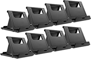 Woodcovo 8 Pack Plastic Phone Stand Desktop Cell Phone Holder Tablet Stand, Mount Universal Adjustable for Mobile Phone and Tablet (Black)