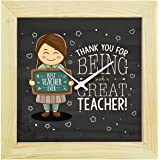 Yaya Cafe™ Teachers Day Gifts, 6 x 6 inches Desk Clock Thank You Great Teacher Canvas
