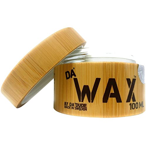 Da'Dude Da' Wax Very Strong Hold Men's Styling Hair Wax - Natural Matte Finish with Texture and Separation - Best Salon Professional Product in a Wooden Tub & Gift Style Bag - 100ml