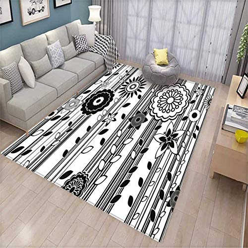 Black and White Bath Mat 3D Digital Printing Mat Monochrome Funky Blossoms Abstract Pattern Vertical Lines and Leaves Door Mat Increase Black and (7' Deep Steam Table)