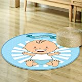 Non Slip Round Rugs Baptism Design Boy Christening Striped Dotted Background Christian Oriental Floor and Carpets-Round 47''