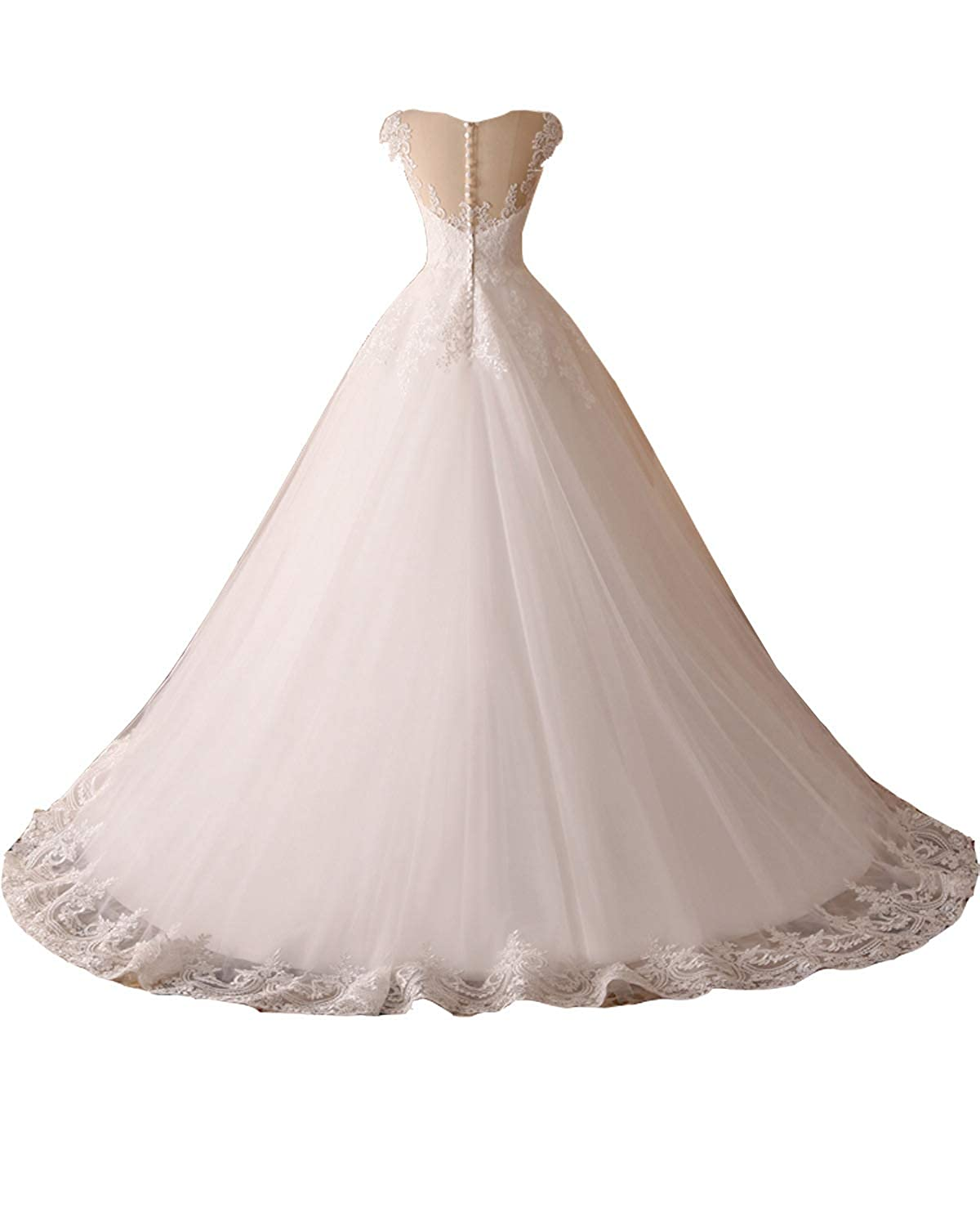 Kittydress Womens Long Tulle Lace Applique Wedding Dresses Sweetheart Bridal Gowns with Train