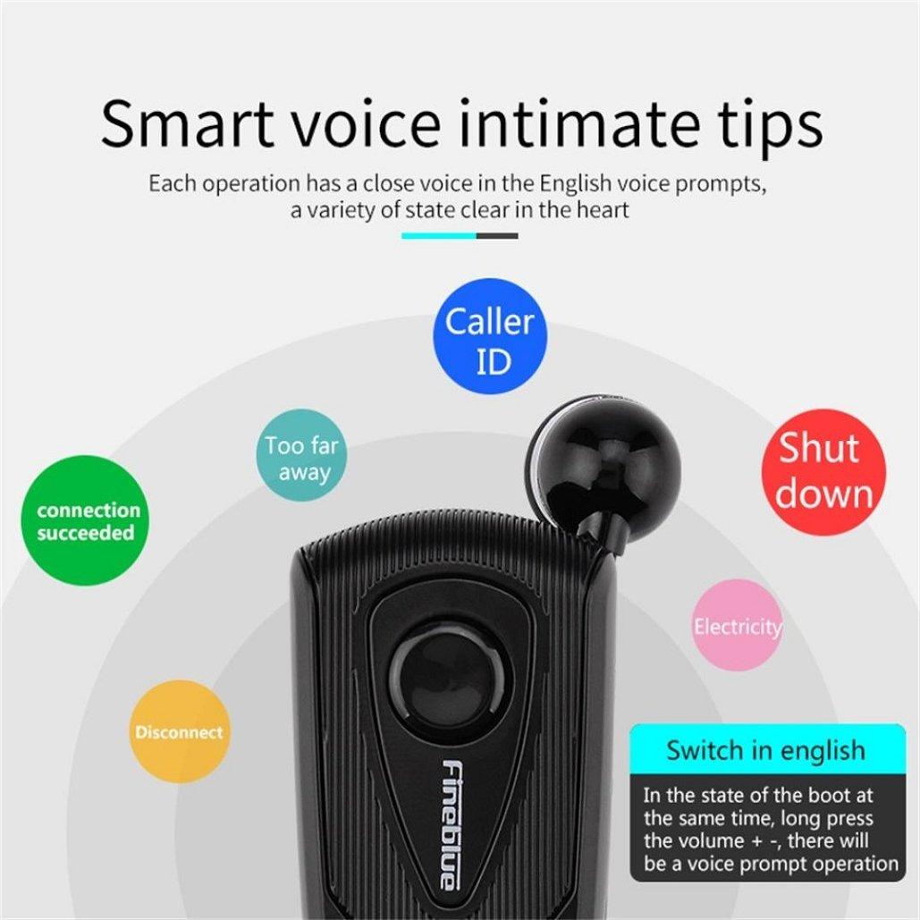 Fineblue F-960 Retractable Wireless Bluetooth Portable Earphone,Tuscom Headphone Clip