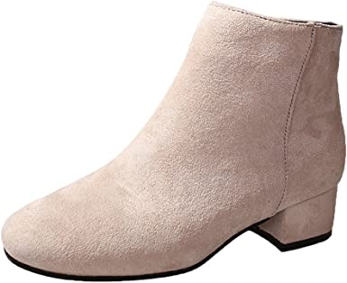 FORUU Women Boots Flock Ankle Boots