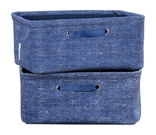 Basket Chambray Blue - South Shore 100056 Storit Oval & Chambray Nightstand Baskets, 2 Pack