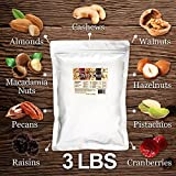 Super Mixed Nuts, 3 LB (Almonds(Dry-Roasted), Walnuts, Cashews (Dry-Roasted), Pecans (Dry-Roasted), Hazelnuts (Dry-Roasted), Macadamia Nuts, Pistachios, Raisins, Cranberries)